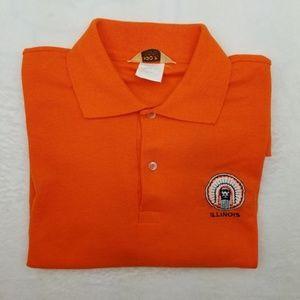 Vintage llinois Illini Orange Polo Chief Illiniwek